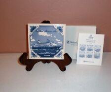 "Holland America Cruise Line Ceramic Coaster Delftware  4"" Tile  COA included"