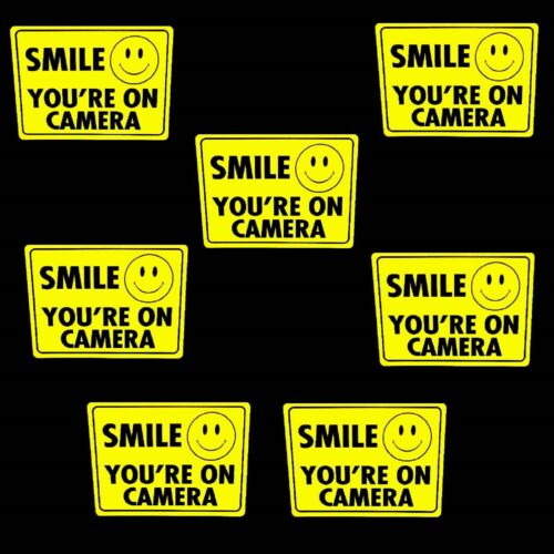 LOT 7 WATERPROOF SMILE YOURE ON STORE SECURITY VIDEO CAMERAS WARNING STICKER