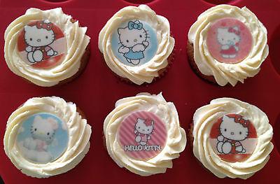 12 x 4cm Hello Kitty Edible Cupcake Toppers - PRECUT