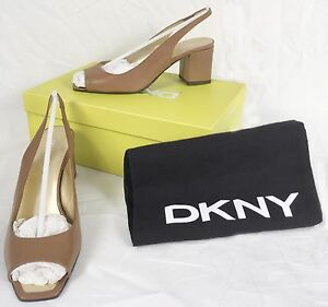 NEW-245-Donna-Karan-DKNY-Shoes-Pumps-Heels-9-Tan-Made-in-Italy