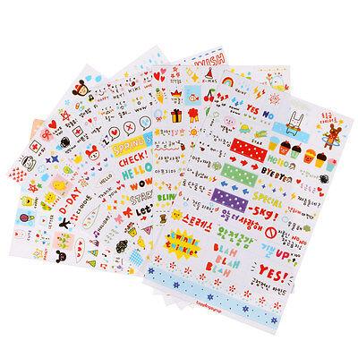 6 Sheets Cute Album Scrapbook Calendar Diary Planner Card Stickers Decoration