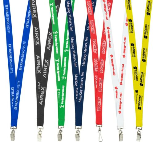 """450 pcs 3//4/"""" High Quality Polyester Customized Printed Lanyard with Attachment"""