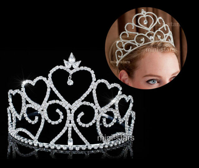Bridal Wedding Pageant Beauty Contest Heart Tall Crystal Tiara Party Prom T1699