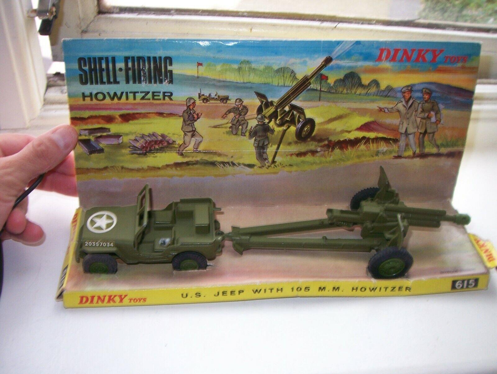 Dinky Juguetes 615 U.S. Jeep con 105 billares Howitzer