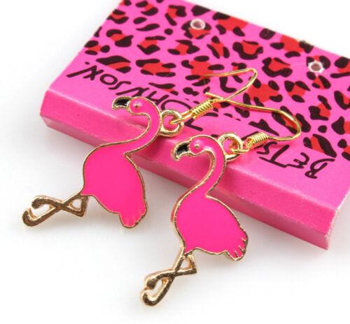 "Betsey Johnson Pink Flamingo Gold 1.5/"" inch Drop Dangle Earrings Free Gift Bag"