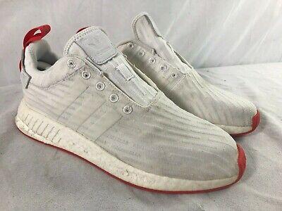 Used Adidas Nmd R2 Pk Primeknit Mens Sz 11 White Core Red Shoes