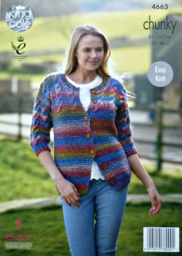 KNITTING PATTERN Ladies Easy Knit Cable//Garter Stitch Jumper//Jacket Chunky 4663