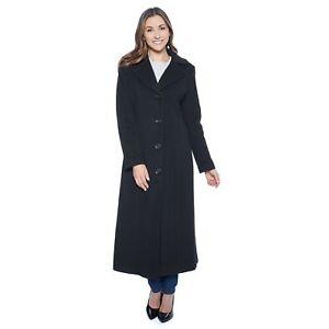 4 Coat Size Black black Women's 723088941521 Long Klein Anne Wool T04wq