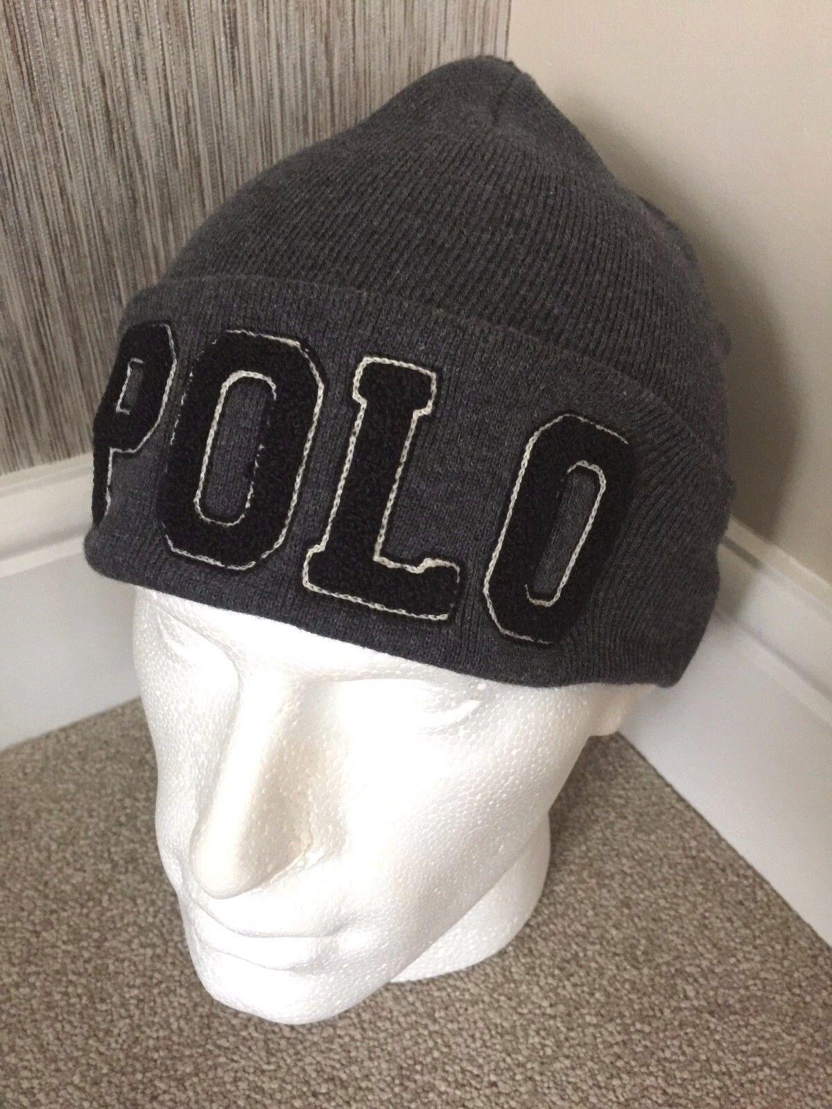 POLO RALPH LAUREN DOUBLE LAYErot grau & NAVY CHENILLE VARSITY BEANIE HAT BNWT | Kaufen Sie online