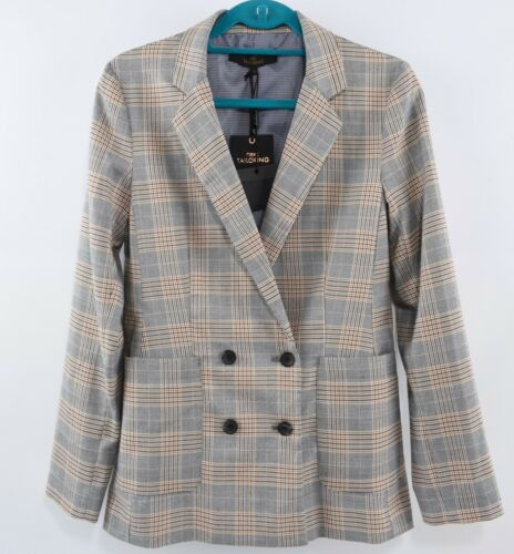 NEXT Women/'s Double Breasted Jacket Brown//Grey Checked Blazer size 12R