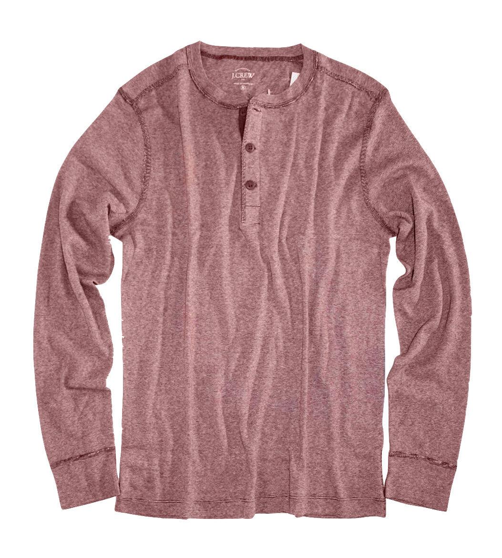 J Crew Factory - Mens XXL Red Heather Twisted Jaspé Cotton Henley Shirt