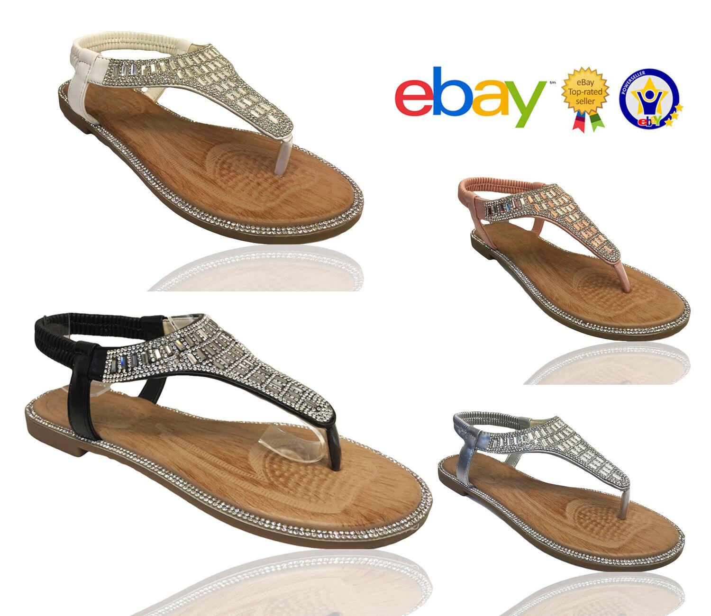 Gentleman/Lady Womens Ladies Flat Diamante Summer Summer Flip Flops Evenin Summer Diamante Sandals Shoes Sizes Great variety At a lower price Explosive good goods BV226 3acaae