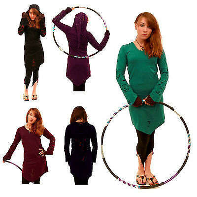 SPIRAL DESIGN LONG-SLEEVE PSY TRANCE PIXIE TOP boho hippy hood 10 12 14 16 18
