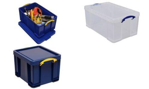 REALLY USEFUL BOX Aufbewahrungsbox transparent 64 l Stapelbox Organizer Box Büro