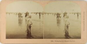 USA-New-Jersey-Trying-The-Surf-Photo-Stereo-Vintage-Albumine-1896