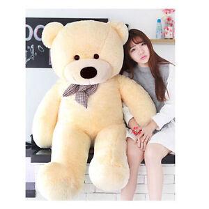 56inch-Giant-Huge-Big-Stuffed-Plush-Beige-Teddy-Bear-Soft-Doll-Toys-gift-140cm
