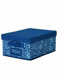 NEW-IKEA-STORSTABBE-STORAGE-CLOTHES-BOX-W-LID-FABRIC-INDIGO-BLUE-9-x13-x6-034