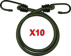 """10 x 30/"""" 76cm GREEN WEB-TEX MILITARY BUNGEE CORDS heavy duty strap army bungees"""