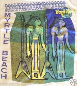 Hard-Rock-Cafe-MYRTLE-BEACH-1990s-EGYPTIANS-White-HEAVY-Tee-T-SHIRT-LG-20-034-x13-5-034