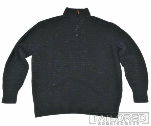 INIS MEAIN Solid Blue Wool Linen Woven Quarter Zip