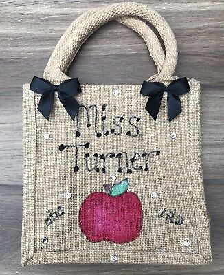Personalised Glitter Jute Bag Gift Birthday Easter Christmas Medium Bag