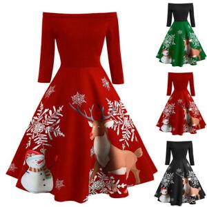Christmas-Dress-Women-Off-Shoulder-Print-Vintage-Evening-Party-Dress-Flare-Dress