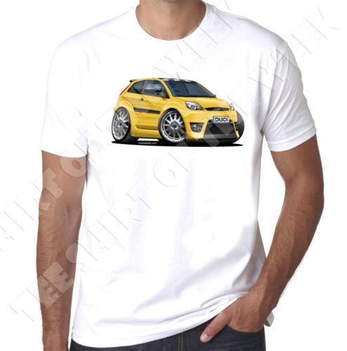 Wickedartz voiture Dessin Animé Jaune MK5 Ford Fiesta Zetec S T-shirt blanc homme
