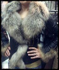 Moderne elegante Fell Pelz Leder Jacke!
