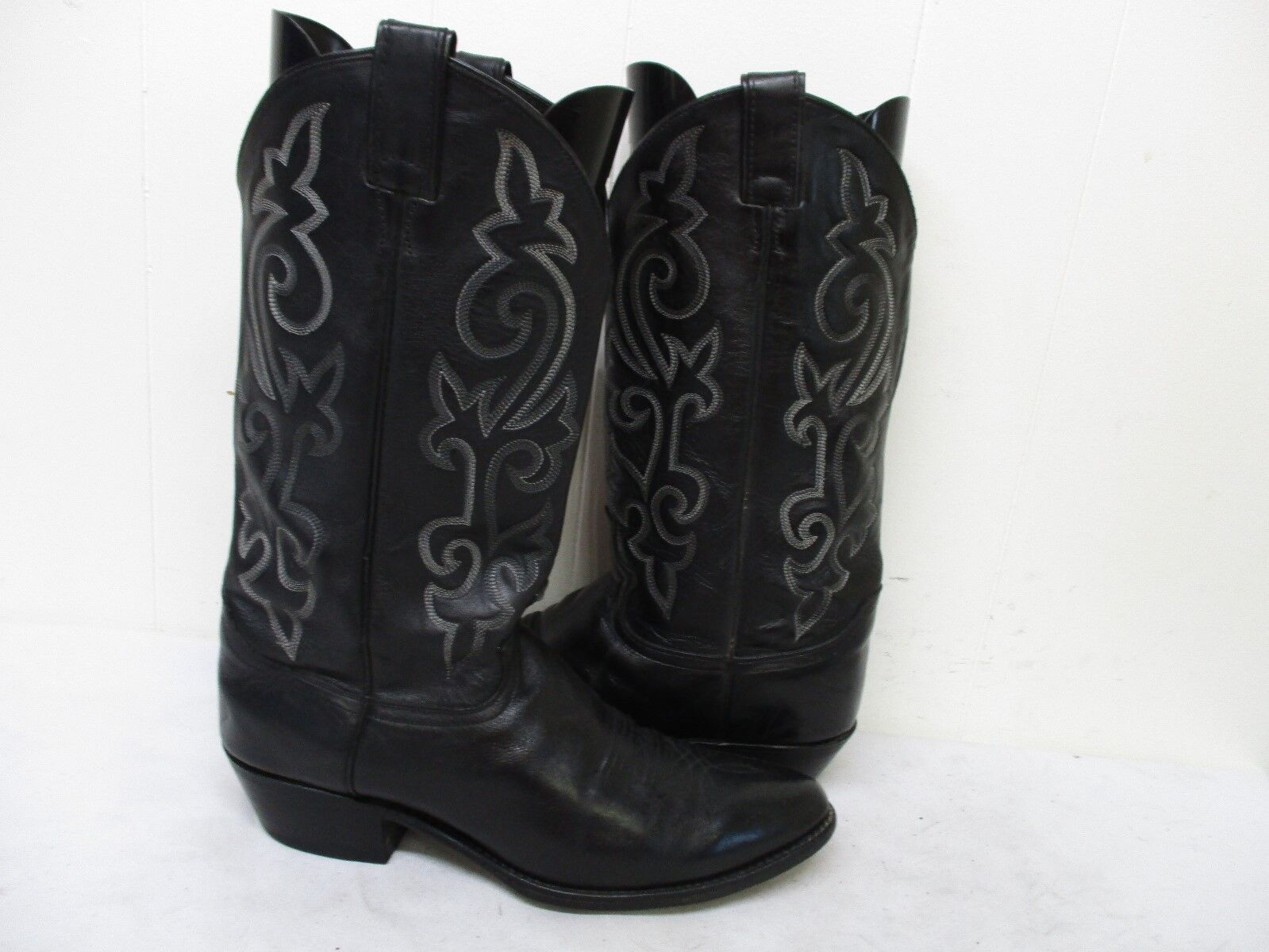 JUSTIN Black London Calf Leather Cowboy Boots Mens Size 10. D. Style 1409