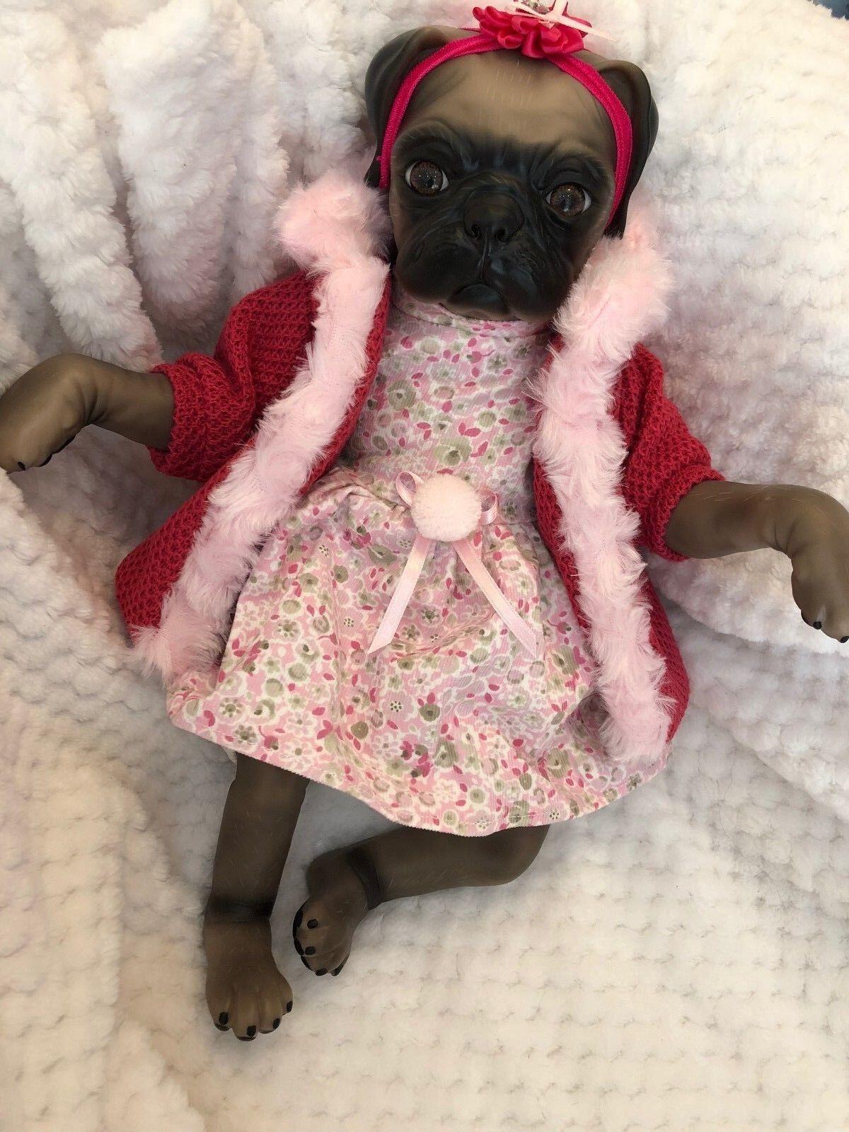 Cherish bambole UK RINATO Baby Ragazza Principessa Pug Dog Pannolino realistici Cucciolo Animale