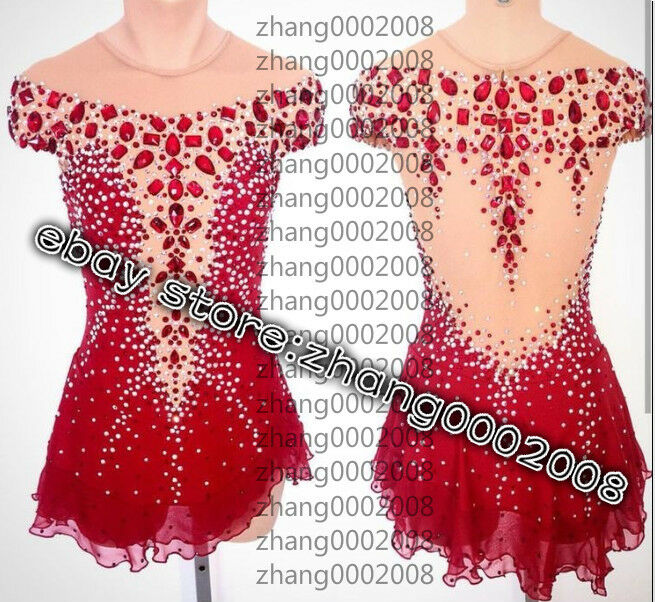 Ice  skating dress.Red Competition Figure Skating Dress.Boton Twirling Costume  great offers