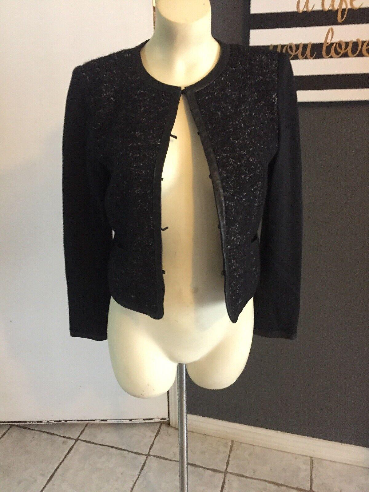 SS Alice and Olivia Box Jacket Sz Xs Black Tweed Wool Lamb Leather Trim Blazer