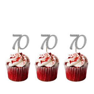 Image Is Loading 70th Cupcake Toppers Glittery Silver Pack Of 10