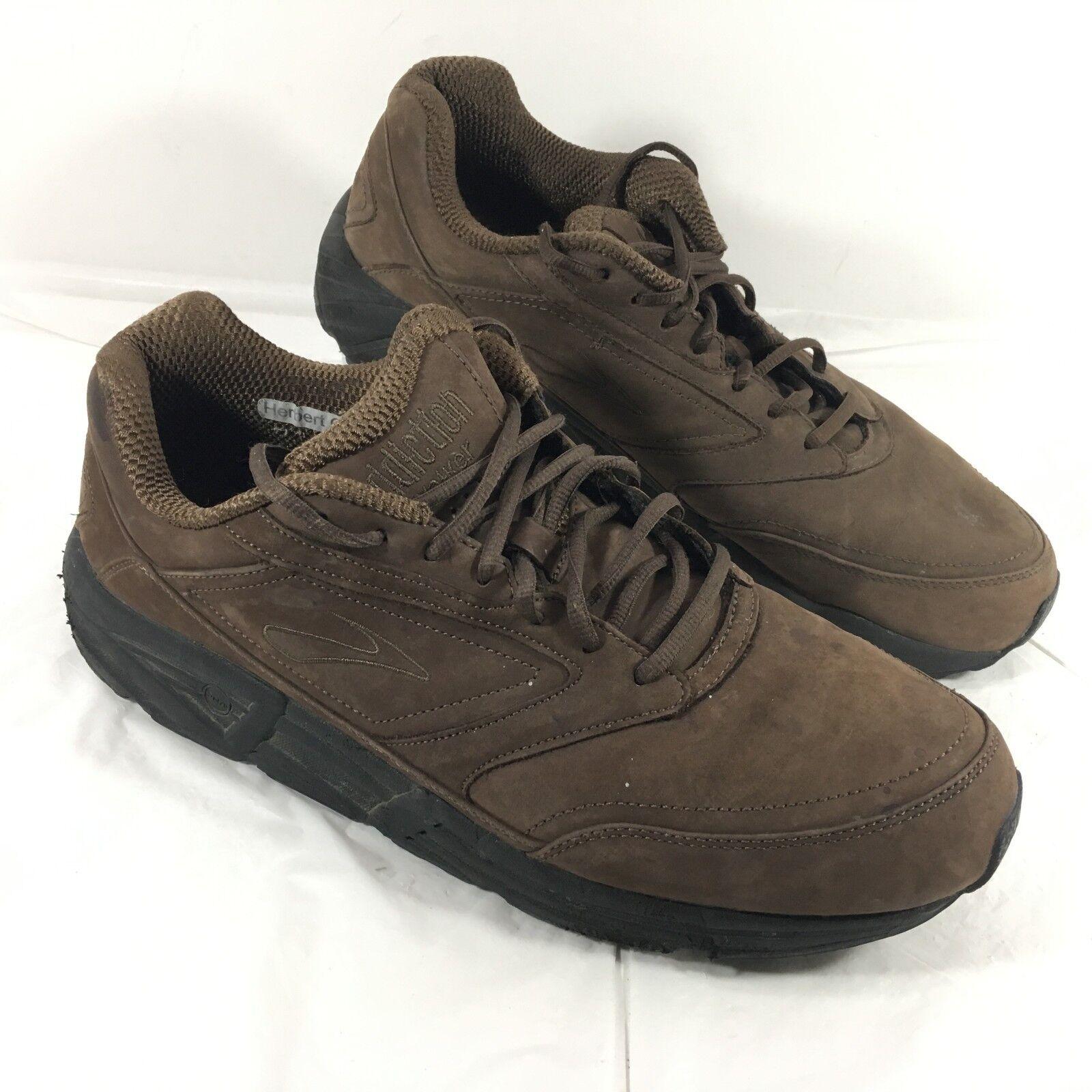 Men's Brooks Addiction Walker Comfort shoes Brown leather Sz 14 M