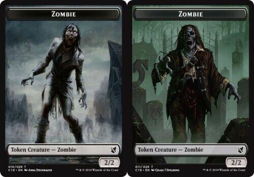 // Zombie Token 011//029 - Commander 2019 Common 010//029 4 x Zombie Token