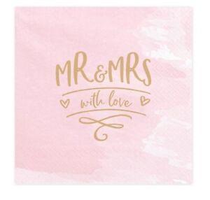 20-Stk-Servietten-MR-amp-MRS-rosa-33x33cm-Hochzeitsdeko-rose-gold-Tischdeko