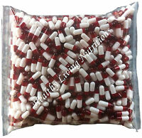 500 Empty Gelatin Capsules Size 00 Colored White / Red (kosher) Gel Caps