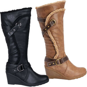 Ladies Smart Black Faux Fur Trim /& Faux Leather High Wedge Buckle Boots New