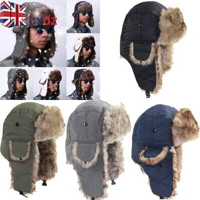 Women Men Winter Warm Fur Trapper Aviator Trooper Cap Russian Earflap Ski Hat UK