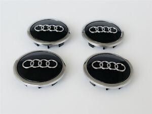 4-un-Audi-Aleacion-Centro-De-Rueda-Caps-69MM-A3-A4-A5-A6-S-line-TT-Q3-Q5-Negro-Cromo
