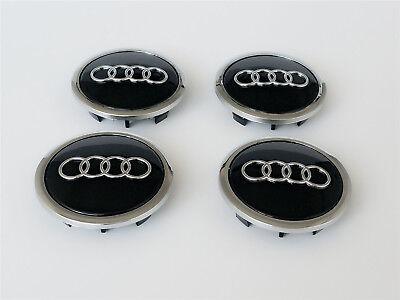 4 X AUDI ALLOY WHEEL CENTRE CAPS 69MM A3 A4 A5 A6 S LINE TT Q3 Q5 BLACK