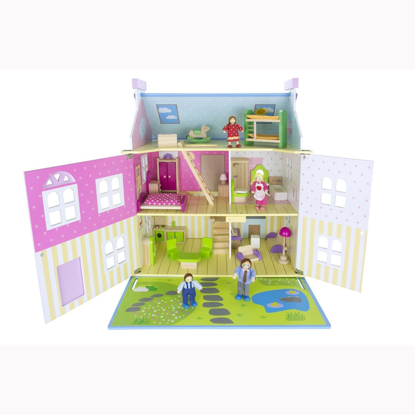 LEOMARK Weiß WOODEN DOLL HOUSE WITH FURNITURE + DOLLS KIDS FREE P+P