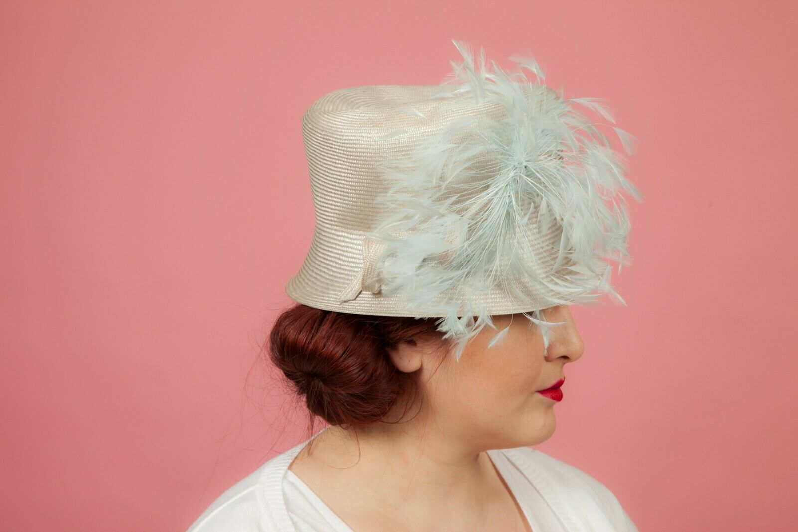 Silver and blue feathered formal bucket hat by Whiteley - Wedding Races MOB