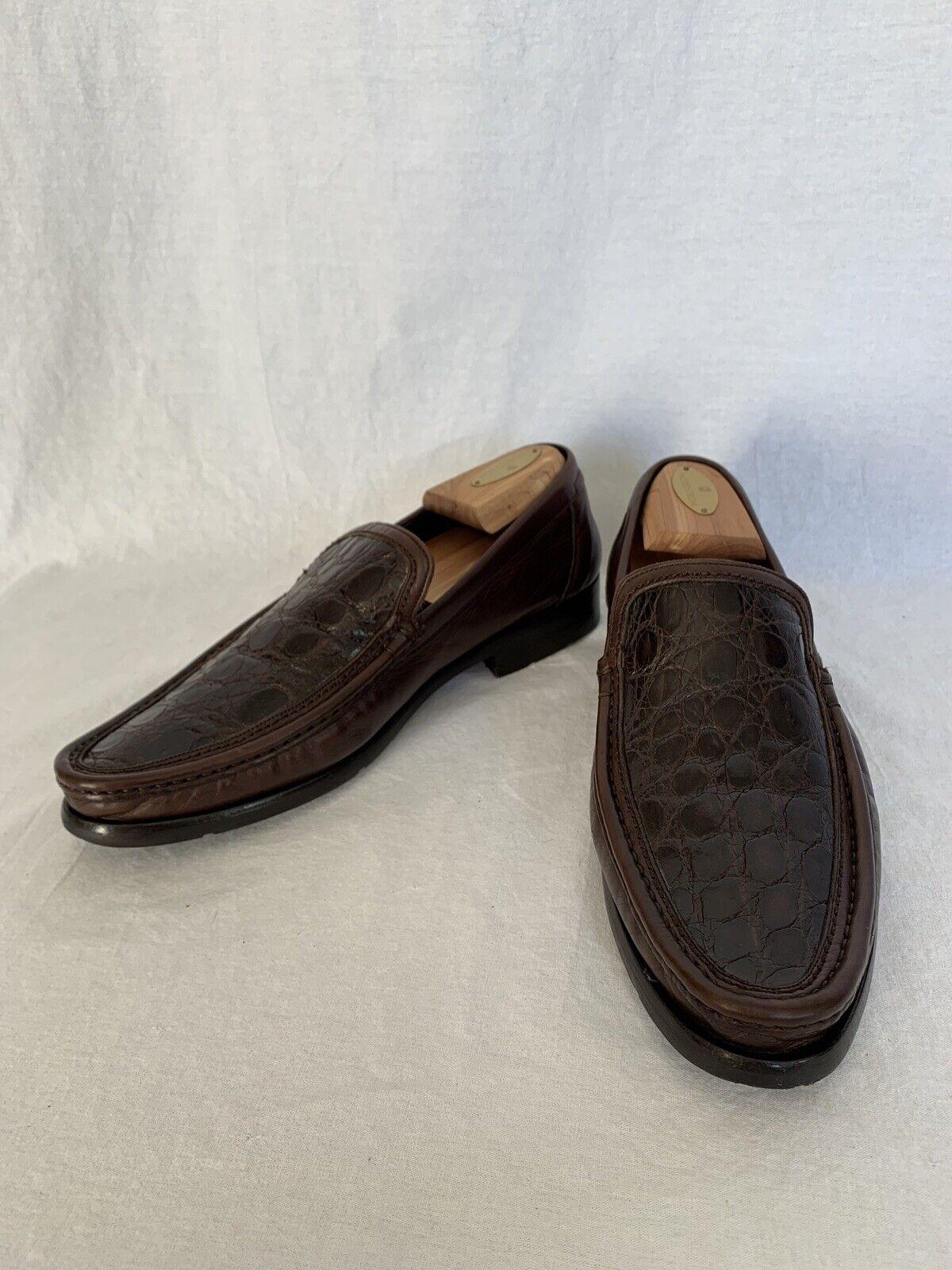 MEZLAN Monaco Marrón Cocodrilo Para hombre Zapatos 8.5US hecho en España