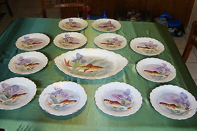 ANTIQUE LIMOGES FLAMBEAU HAND PAINTED PLATTER AND 12 PLATES FISH GAME SET, IRIS