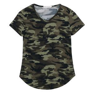 Women Camouflage Print Pocket T Shirts Army Short Sleeve