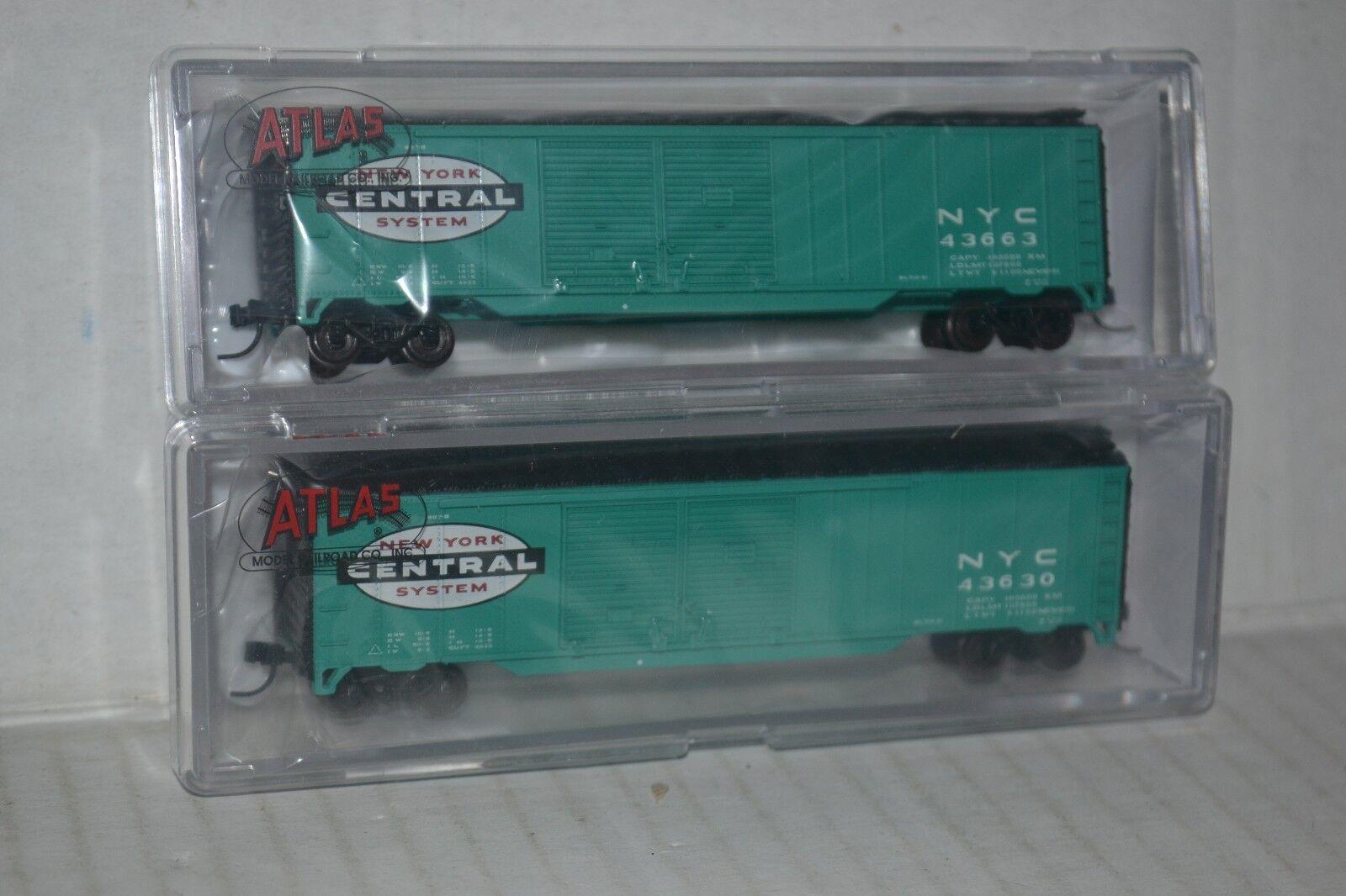 2 Atlas NYC New York Central 50' DD Box Car N scale 50002251, 2252