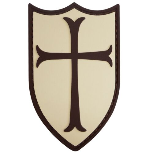 AIRSOFT CRUSADER CROSS SHIELD RUBBER 3D NAVY SEALS PATCH TAN /& BROWN PVC LARGE