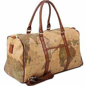 92489381d13d Copi World Map Large Duffle Bag Travel Tote Luggage Boston Style Khaki One  Size
