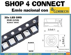 20-Diodos-LED-SMD-BLANCO-WHITE-3528-1210-20ma-CAR-automocion-ARDUINO-3-5-x-2-8